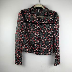 Topshop Cropped Embroidered Floral Button Shirt 6